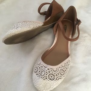 Seychelles White & Brown Flats with Strap